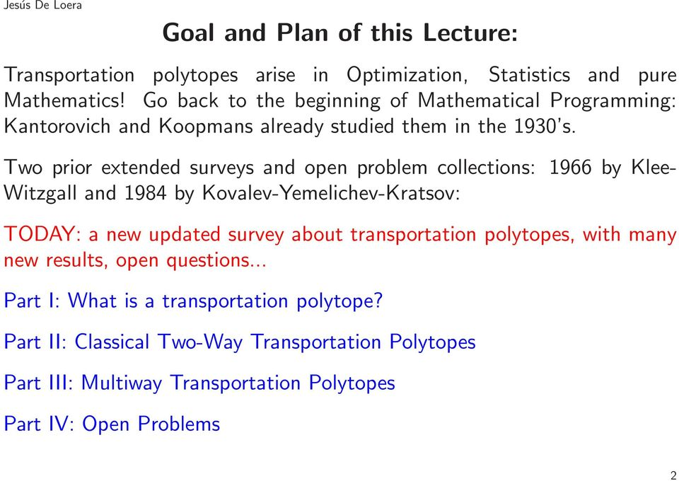 Two prior extended surveys and open problem collections: 966 by Klee- Witzgall and 984 by Kovalev-Yemelichev-Kratsov: TODAY: a new updated survey about