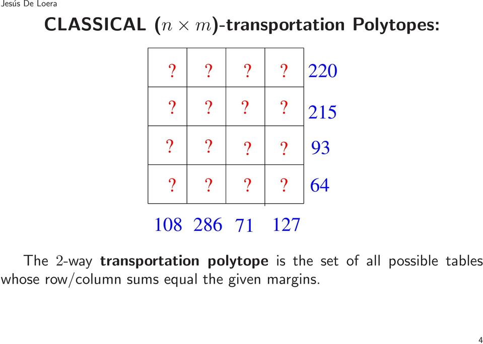transportation polytope is the set of all