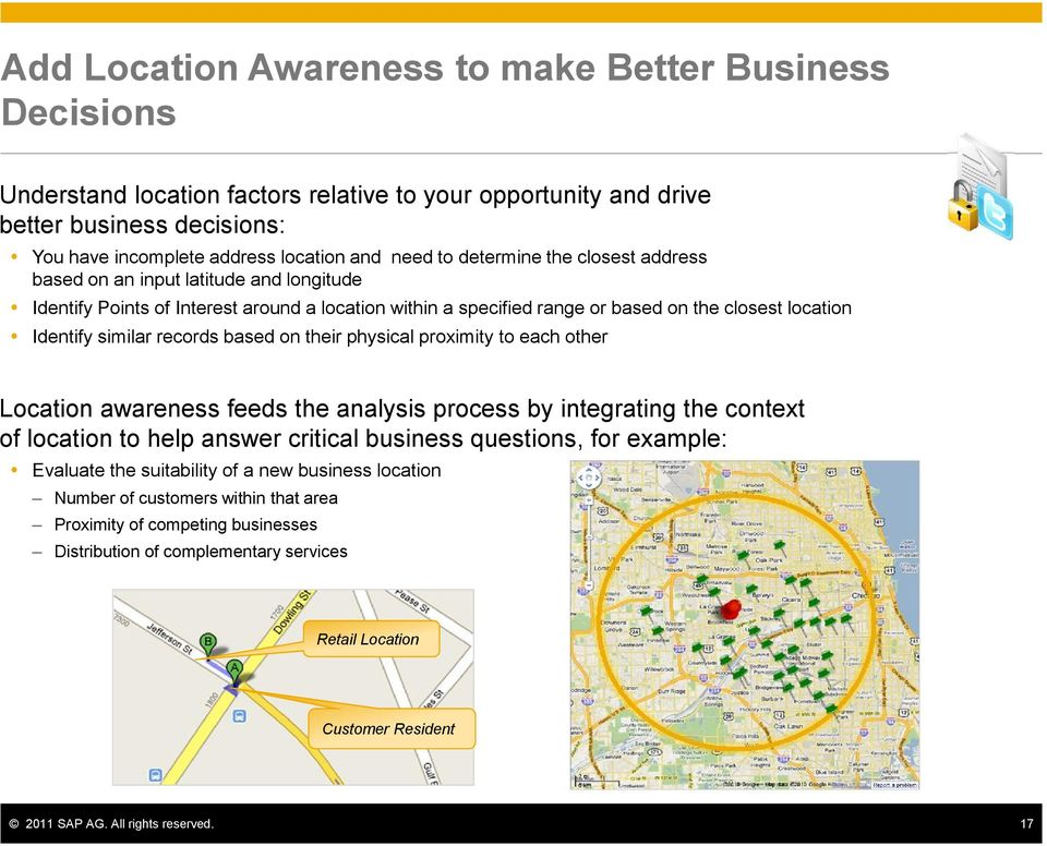 records based on their physical proximity to each other Location awareness feeds the analysis process by integrating the context of location to help answer critical business questions, for