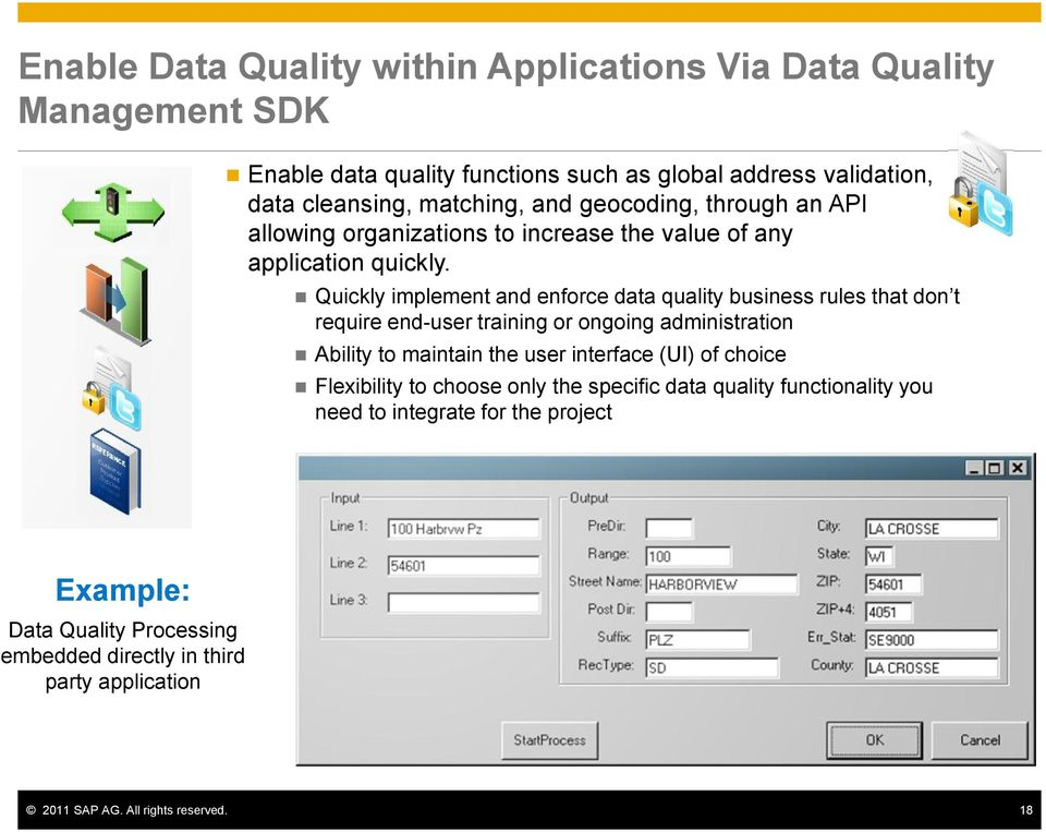 Quickly implement and enforce data quality business rules that don t require end-user training or ongoing administration Ability to maintain the user