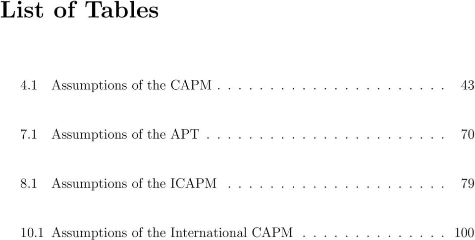 1 Assumptions of the ICAPM..................... 79 10.