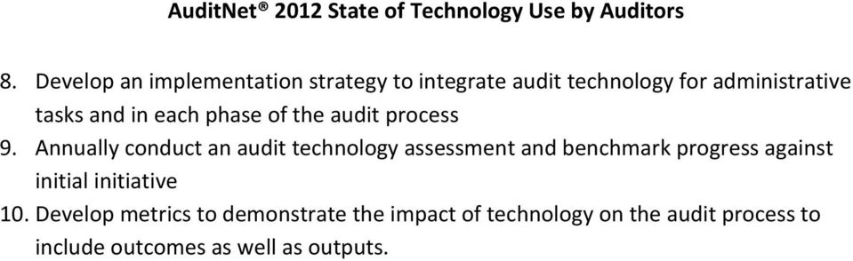 Annually conduct an audit technology assessment and benchmark progress against initial