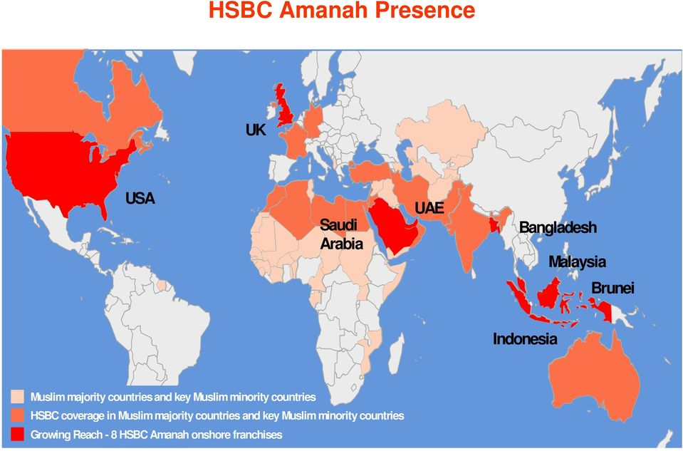 countries HSBC coverage in Muslim majority countries and key