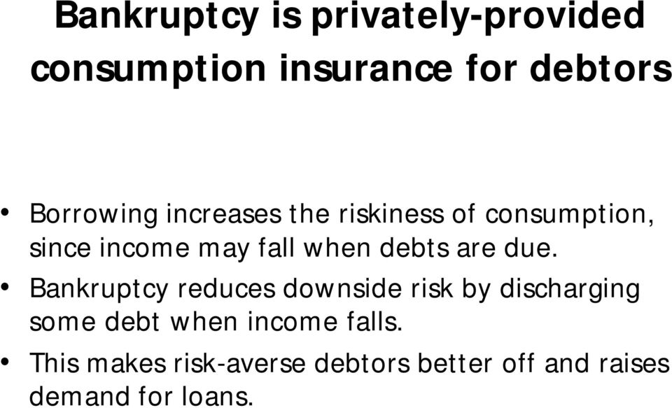 due. Bankruptcy reduces downside risk by discharging some debt when income