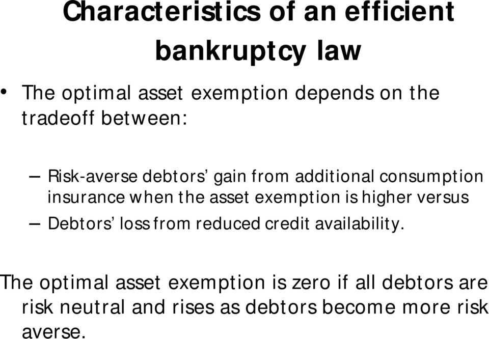 asset exemption is higher versus Debtors loss from reduced credit availability.