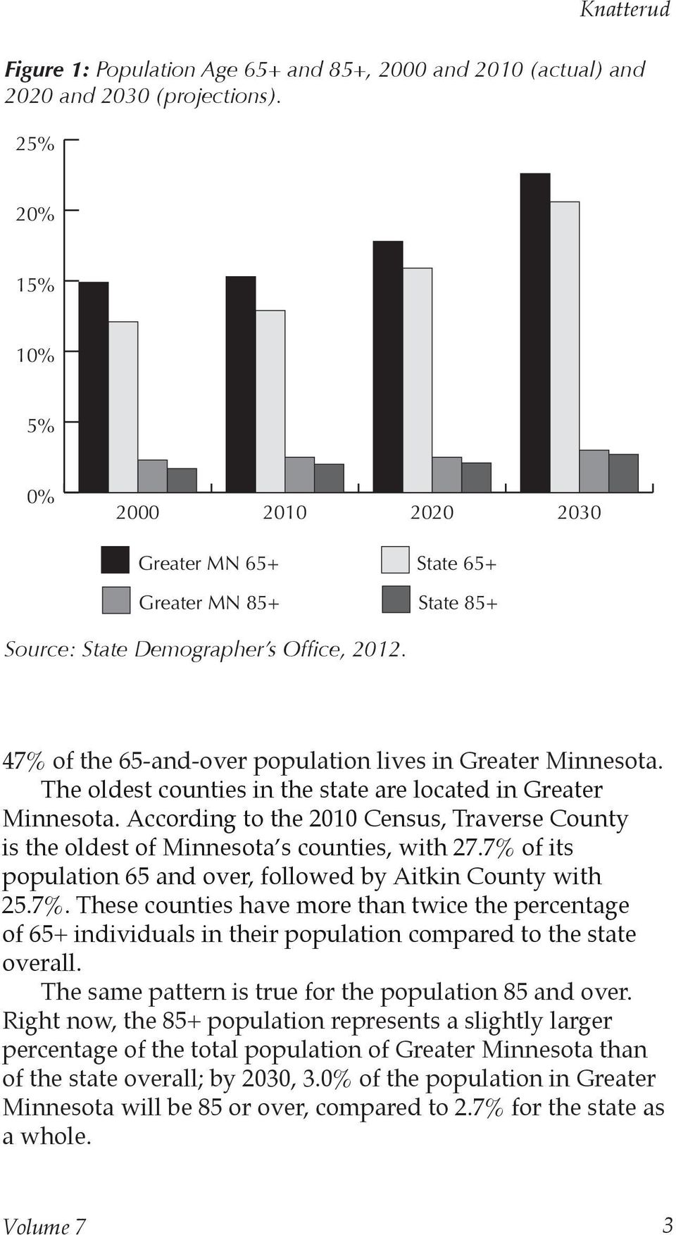 The oldest counties in the state are located in Greater Minnesota. According to the 2010 Census, Traverse County is the oldest of Minnesota s counties, with 27.