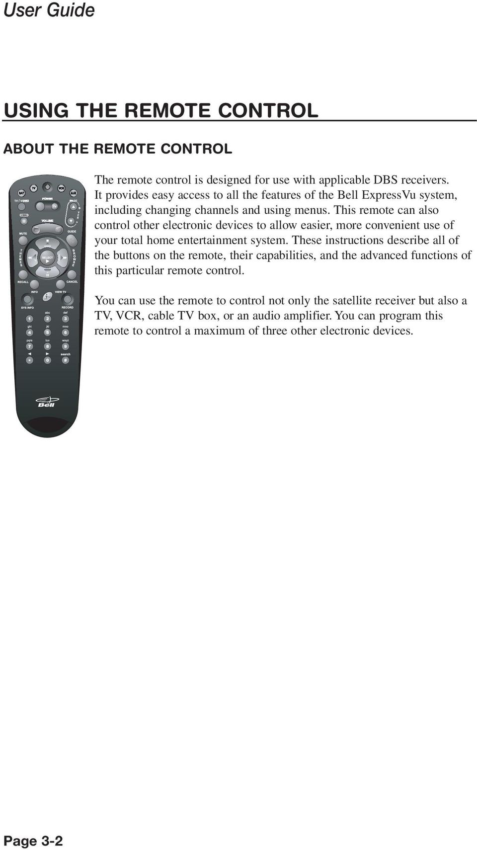 This remote can also control other electronic devices to allow easier, more convenient use of your total home entertainment system.