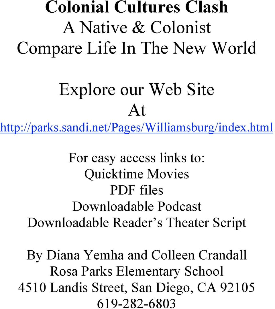 html For easy access links to: Quicktime Movies PDF files Downloadable Podcast Downloadable
