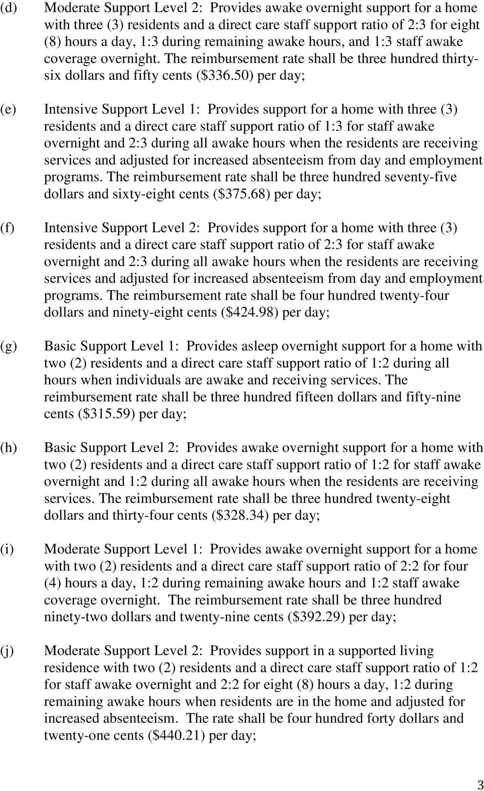 50) per day; (e) Intensive Support Level 1: Provides support for a home with three (3) residents and a direct care staff support ratio of 1:3 for staff awake overnight and 2:3 during all awake hours