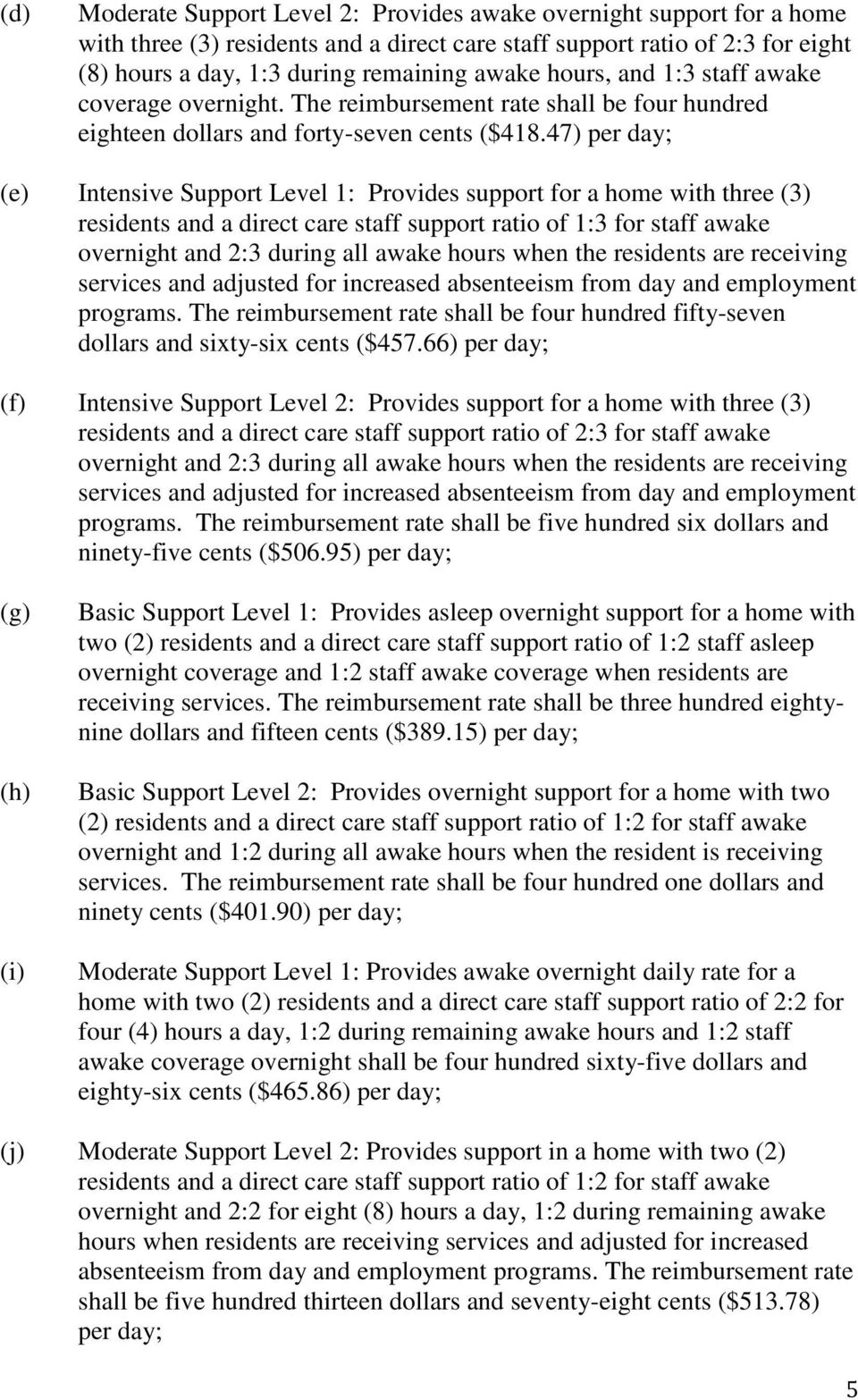 47) per day; (e) Intensive Support Level 1: Provides support for a home with three (3) residents and a direct care staff support ratio of 1:3 for staff awake overnight and 2:3 during all awake hours