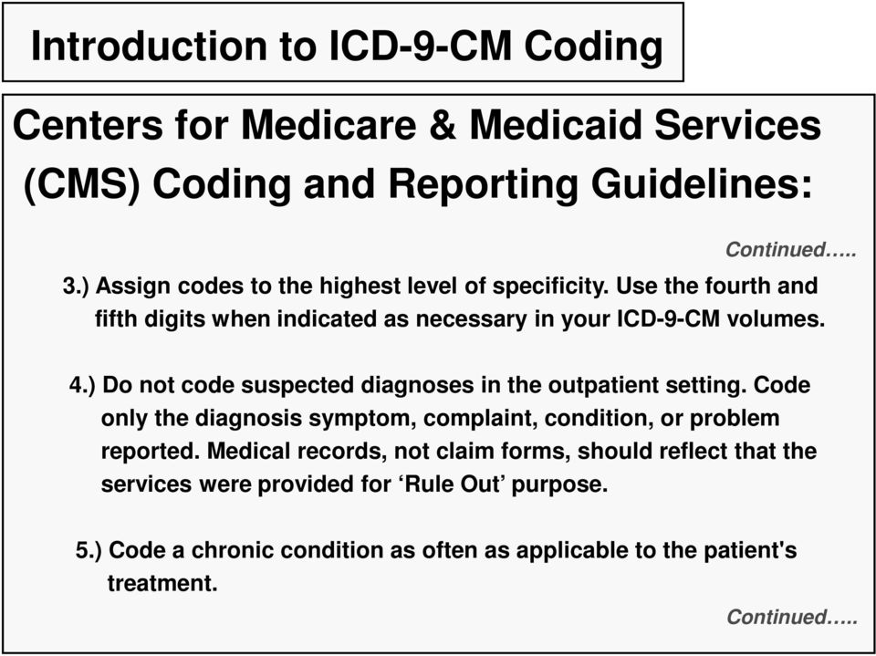 ) Do not code suspected diagnoses in the outpatient setting. Code only the diagnosis symptom, complaint, condition, or problem reported.