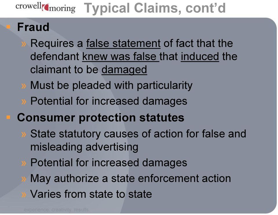 damages Consumer protection statutes» State statutory causes of action for false and misleading