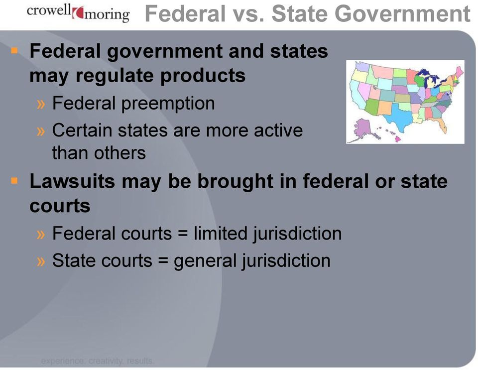 products» Federal preemption» Certain states are more active than