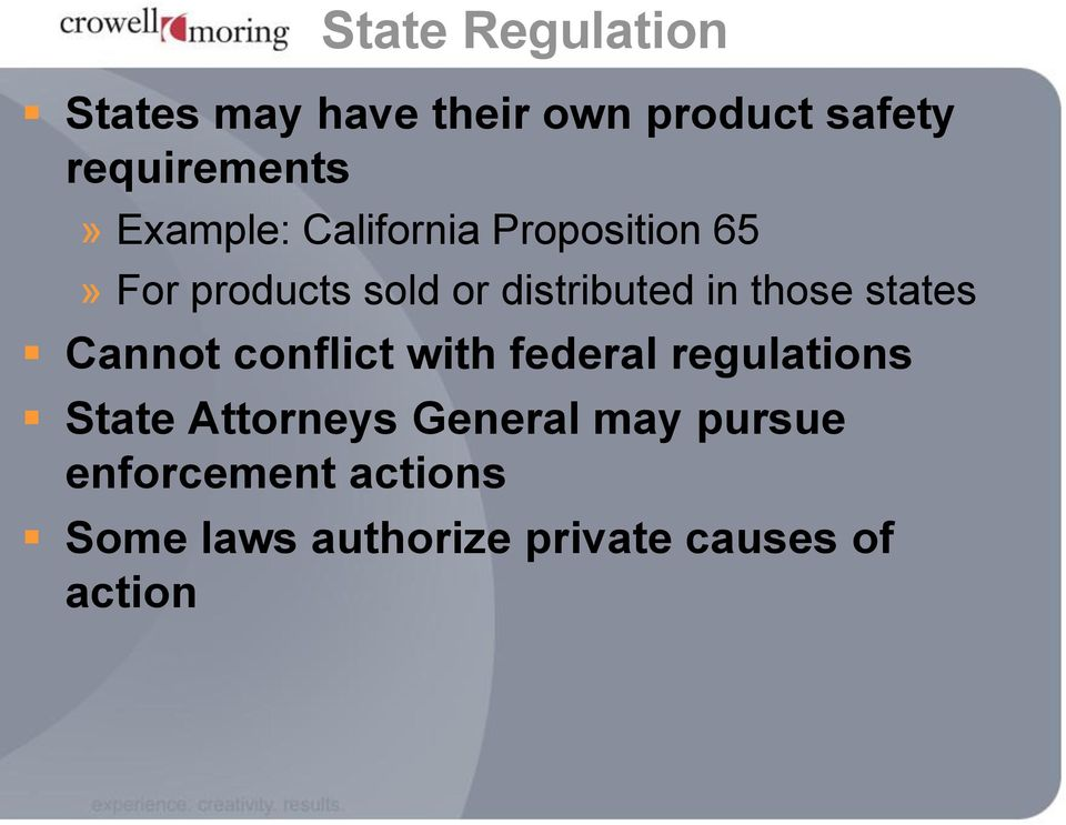 those states Cannot conflict with federal regulations State Attorneys