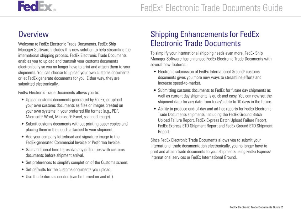 You can choose to upload your own customs documents or let FedEx generate documents for you. Either way, they are submitted electronically.
