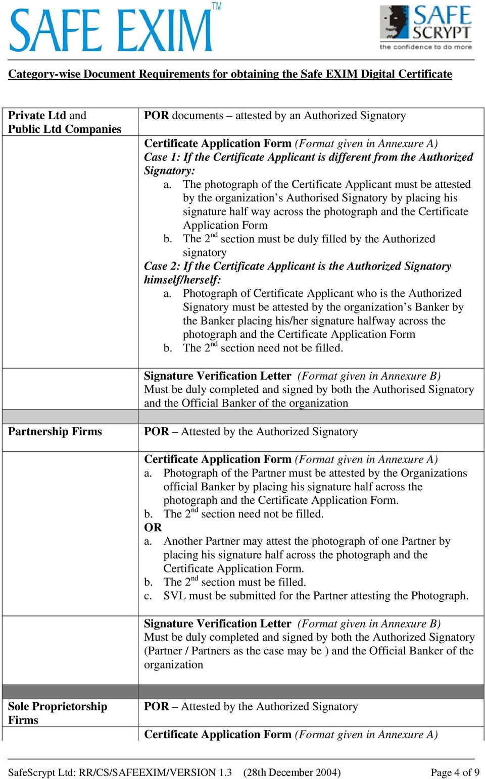 The photograph of the Certificate Applicant must be attested by the organization s Authorised Signatory by placing his signature half way across the photograph and the Certificate Application Form b.