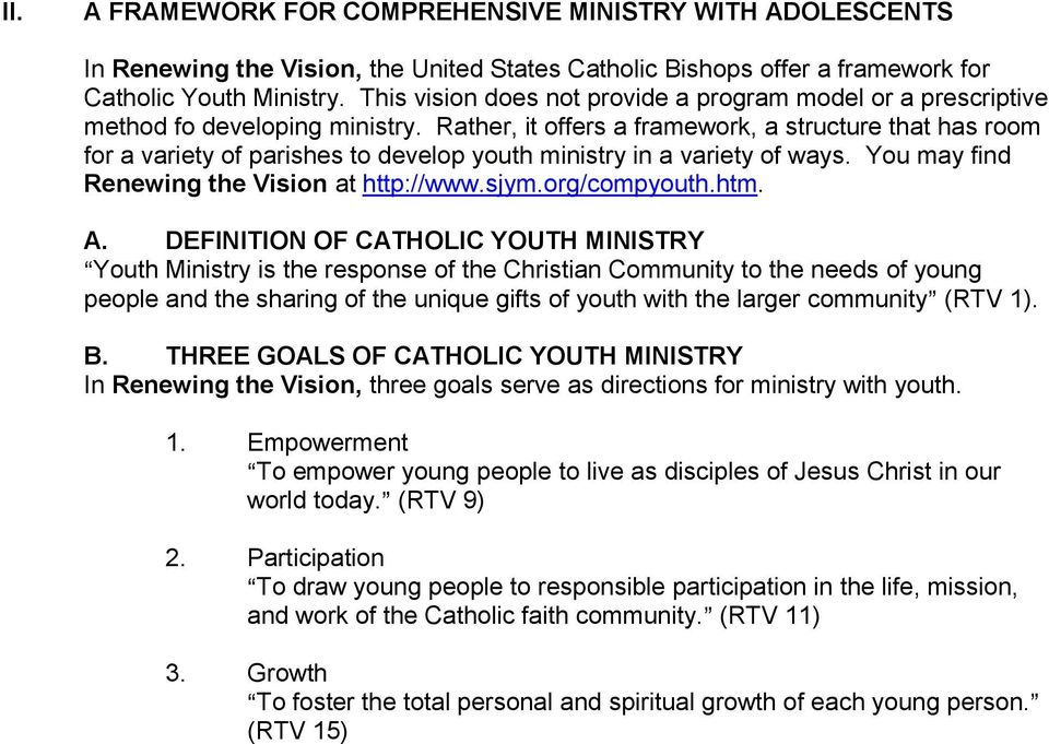 Rather, it offers a framework, a structure that has room for a variety of parishes to develop youth ministry in a variety of ways. You may find Renewing the Vision at http://www.sjym.org/compyouth.