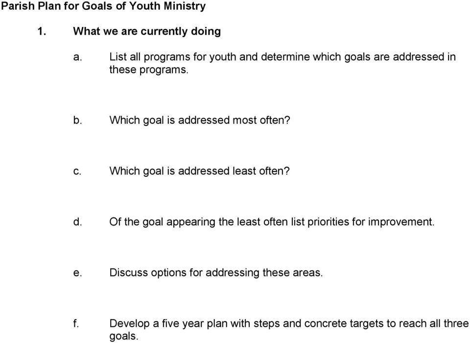 Which goal is addressed most often? c. Which goal is addressed least often? d.