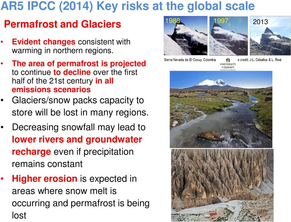 Glaciers/snow packs capacity to store will be lost in many regions.