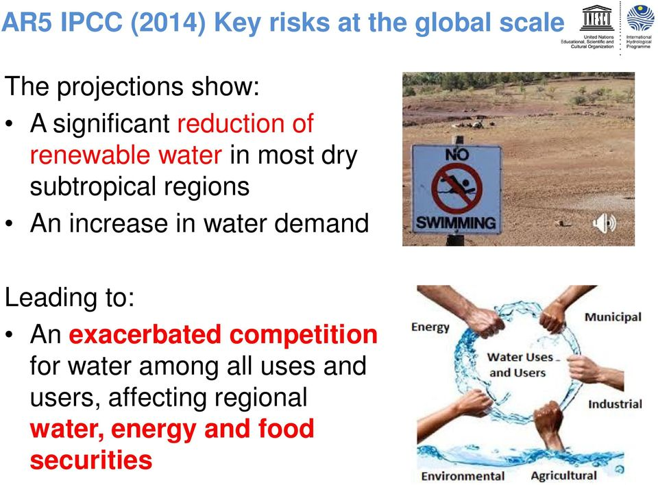 An increase in water demand Leading to: An exacerbated competition for