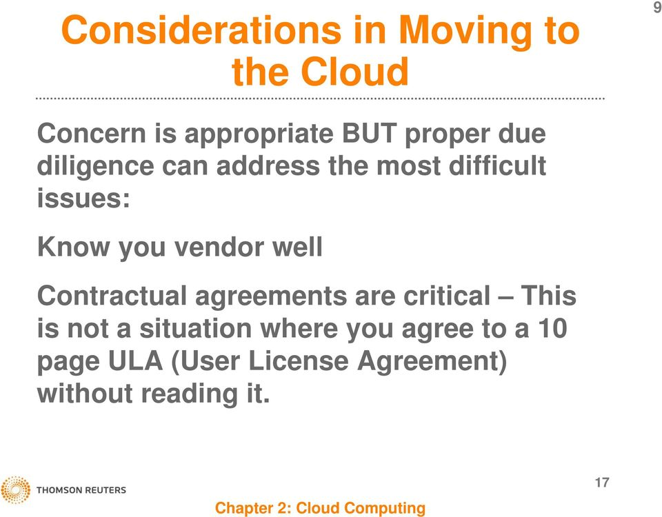 vendor well Contractual agreements are critical This is not a situation