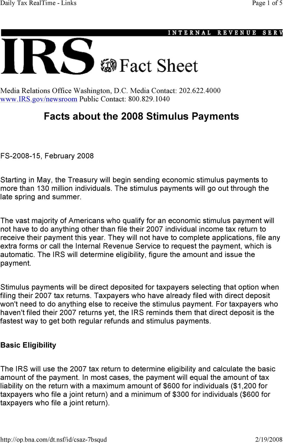 The stimulus payments will go out through the late spring and summer.