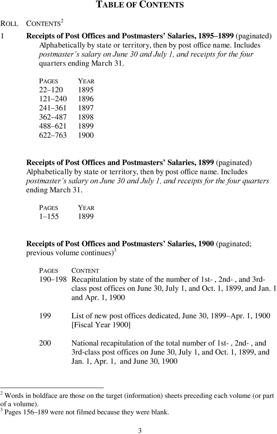 PAGES YEAR 1 155 1899 Receipts of Post Offices and Postmasters Salaries, 1900 (paginated; previous volume continues) 3 PAGES CONTENT 190 198 Recapitulation by state of the number of 1st-, 2nd-, and
