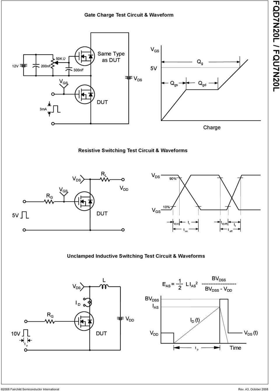 t r t d(off) tf t on t off Unclamped Inductive Switching Test Circuit & Waveforms L 1 E AS