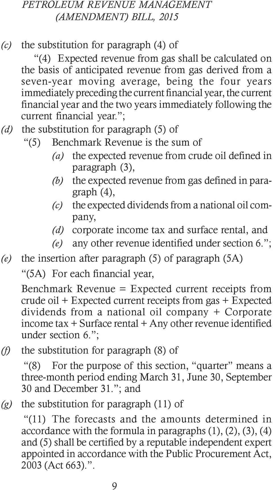 ; (d) the substitution for paragraph (5) of (5) Benchmark Revenue is the sum of (a) the expected revenue from crude oil defined in paragraph (3), (b) the expected revenue from gas defined in