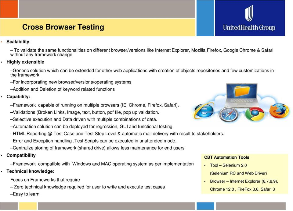 browser/versions/operating systems Addition and Deletion of keyword related functions Capability: Framework capable of running on multiple browsers (IE, Chrome, Firefox, Safari).