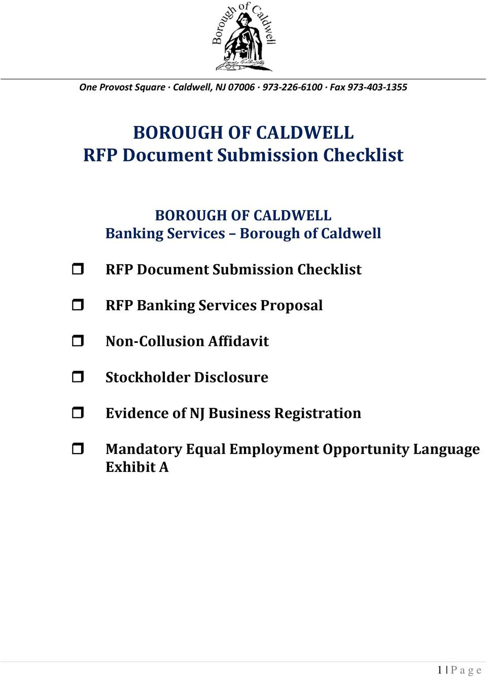 Document Submission Checklist RFP Banking Services Proposal Non-Collusion Affidavit Stockholder
