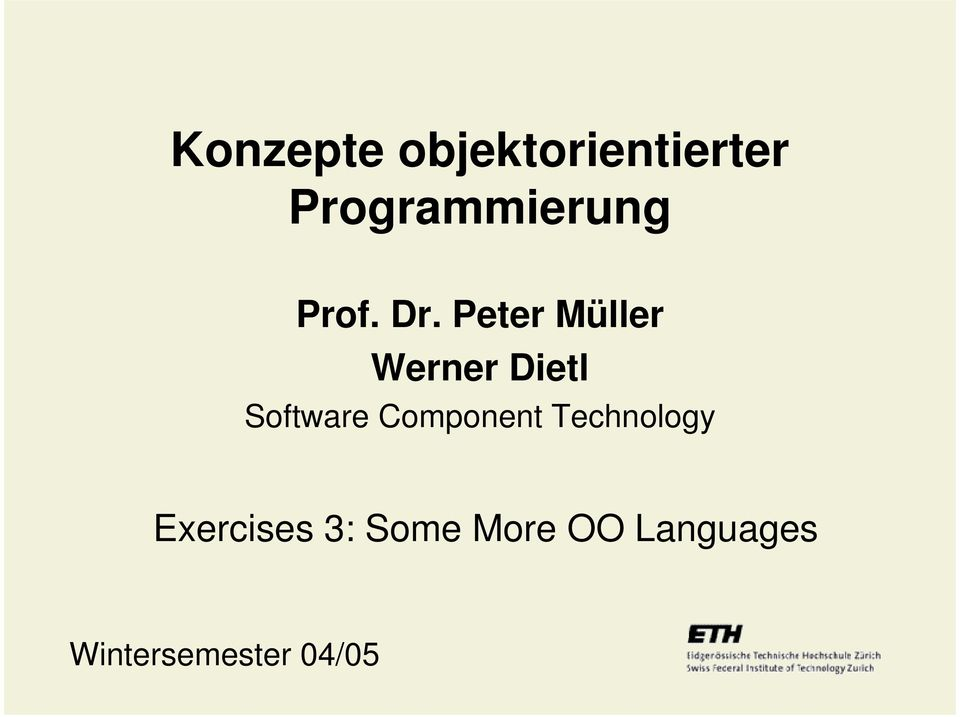 Peter Müller Werner Dietl Software