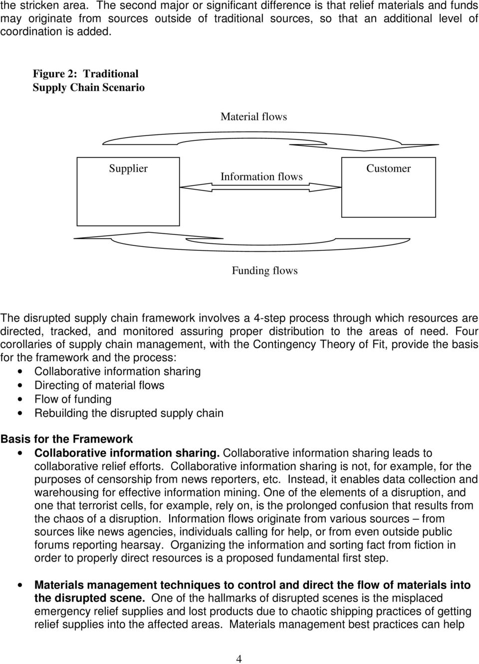 Figure 2: Traditional Supply Chain Scenario Material flows Supplier Customer Funding flows The disrupted supply chain framework involves a 4-step process through which resources are directed,
