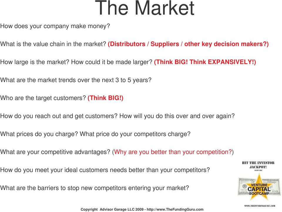 How will you do this over and over again? What prices do you charge? What price do your competitors charge? What are your competitive advantages?