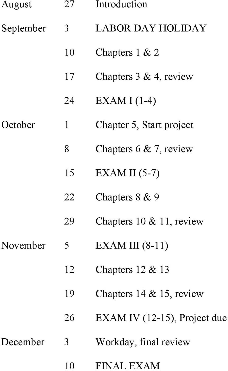 Chapters 8 & 9 29 Chapters 10 & 11, review November 5 EXAM III (8-11) 12 Chapters 12 & 13 19