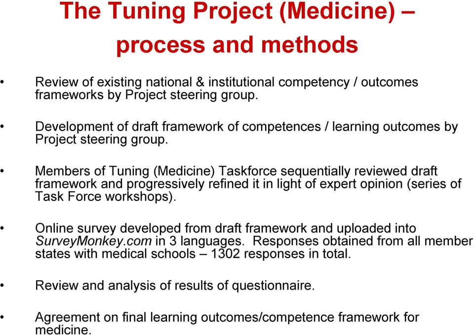 Members of Tuning (Medicine) Taskforce sequentially reviewed draft framework and progressively refined it in light of expert opinion (series of Task Force workshops).