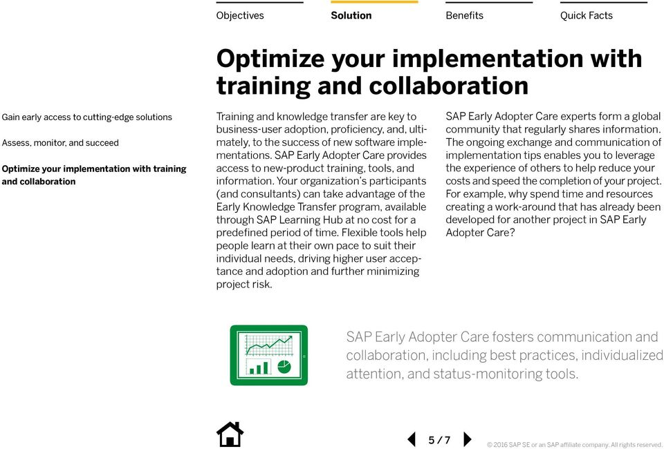 SAP Early Adopter Care provides access to new-product training, tools, and information.