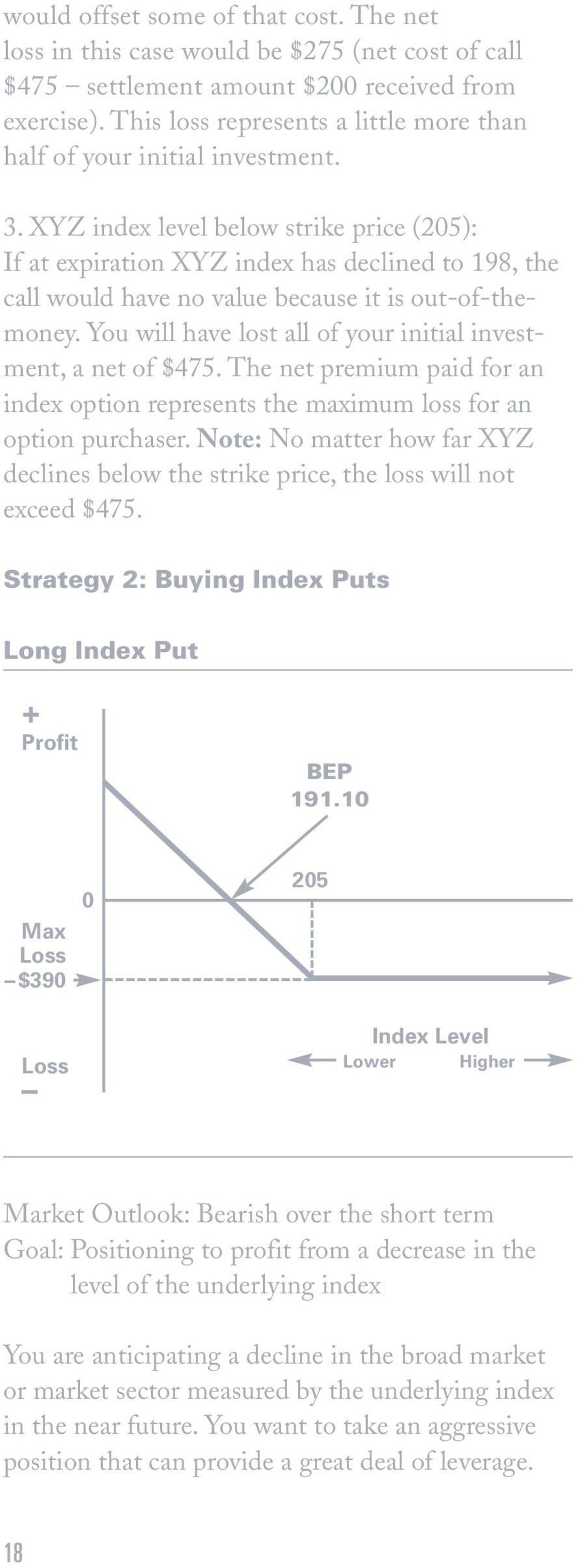 XYZ index level below strike price (205): If at expiration XYZ index has declined to 198, the call would have no value because it is out-of-themoney.