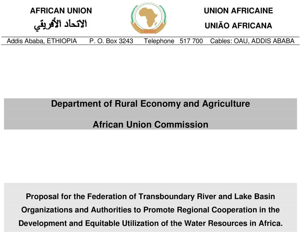 African Union Commission Proposal for the Federation of Transboundary River and Lake Basin