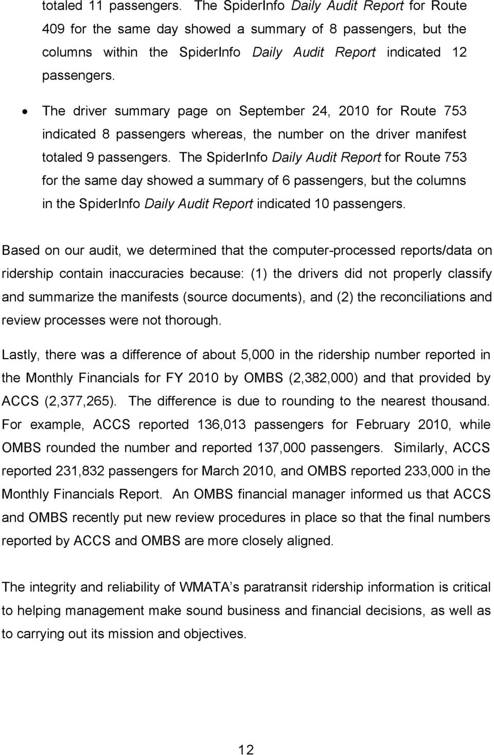 The driver summary page on September 24, 2010 for Route 753 indicated 8 passengers whereas, the number on the driver manifest totaled 9 passengers.