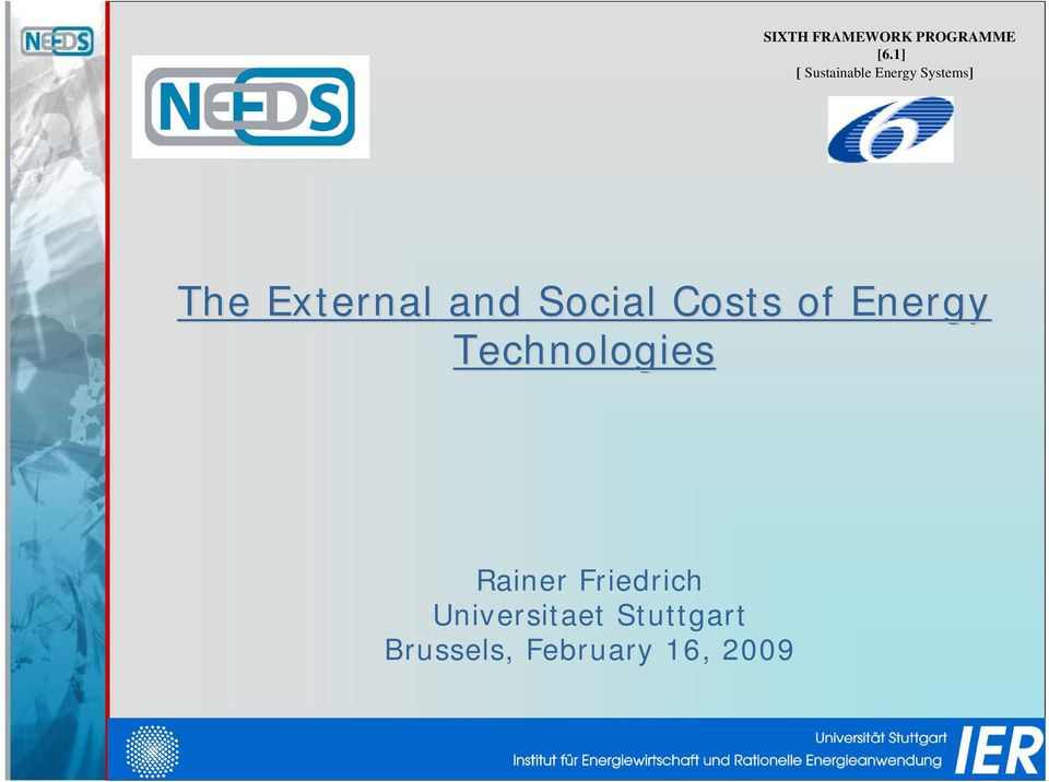 and Social Costs of Energy Technologies