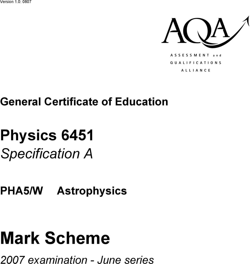 Education Physics 6451 Specification