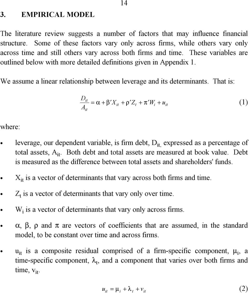 These variables are outlined below with more detailed definitions given in Appendix 1. We assume a linear relationship between leverage and its determinants.