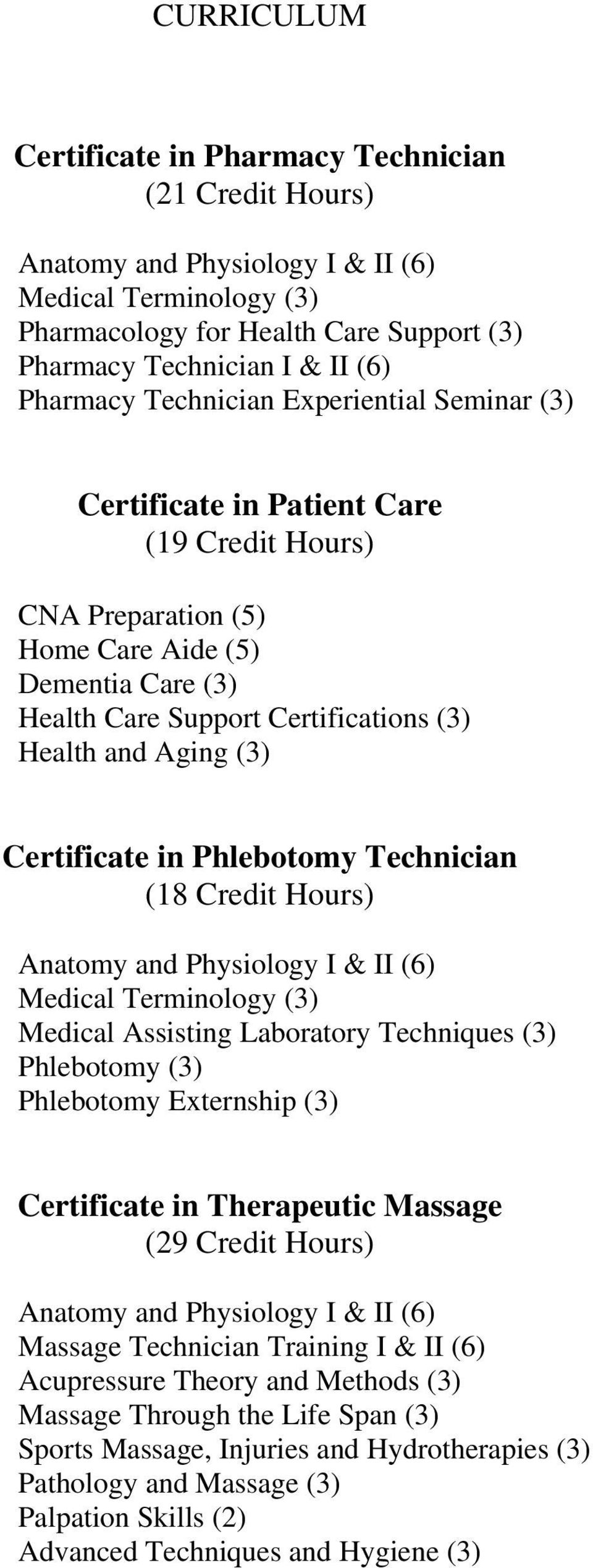 Aging (3) Certificate in Phlebotomy Technician (18 Credit Hours) Anatomy and Physiology I & II (6) Medical Terminology (3) Medical Assisting Laboratory Techniques (3) Phlebotomy (3) Phlebotomy