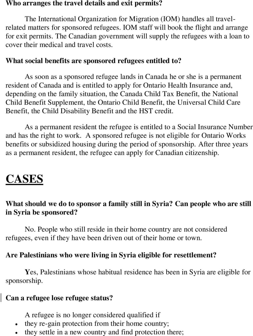 What social benefits are sponsored refugees entitled to?