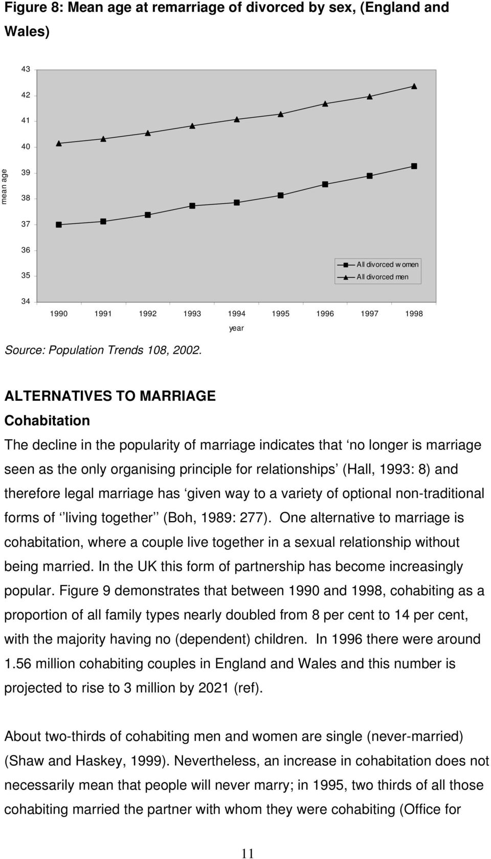 ALTERNATIVES TO MARRIAGE Cohabitation The decline in the popularity of marriage indicates that no longer is marriage seen as the only organising principle for relationships (Hall, 1993: 8) and