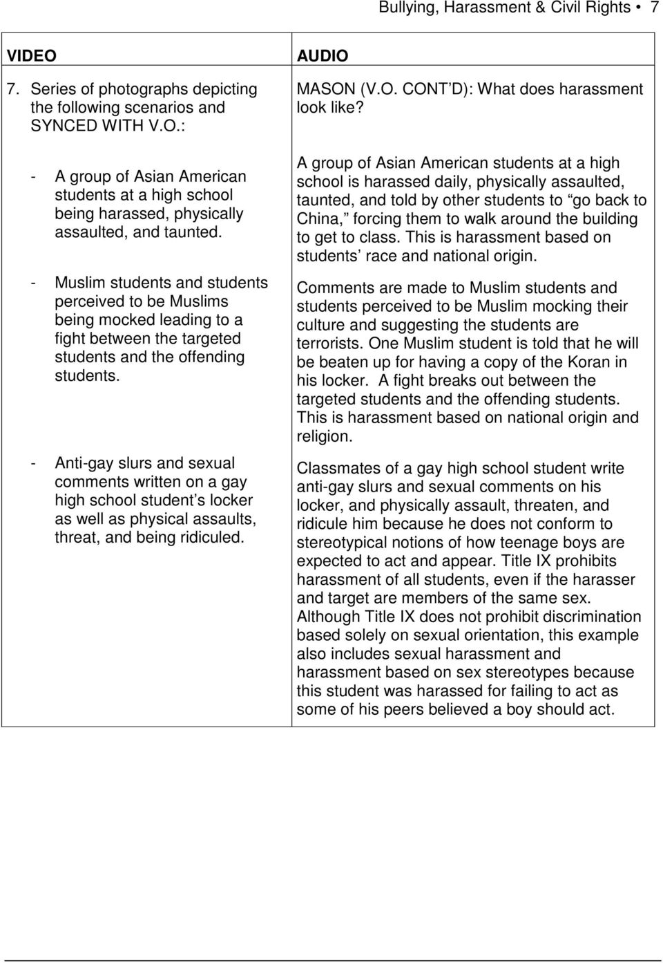 - Muslim students and students perceived to be Muslims being mocked leading to a fight between the targeted students and the offending students.