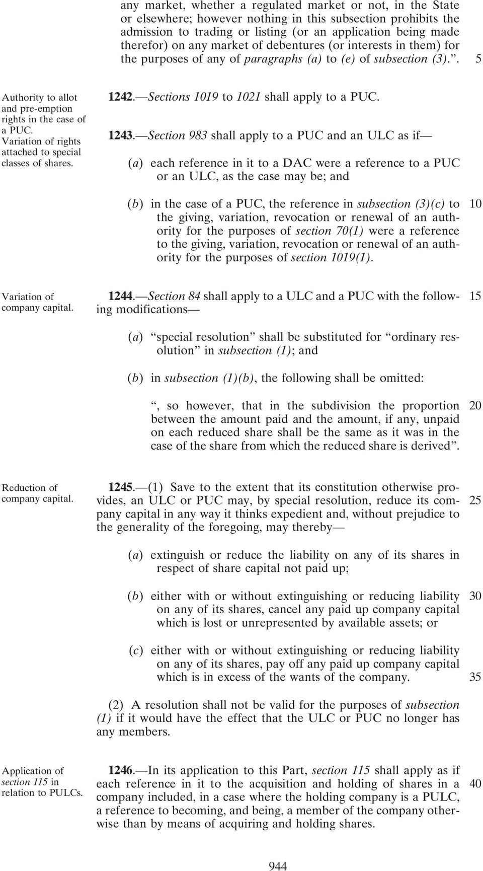 Variation of rights attached to special classes of shares. 1242. Sections 1019 to 1021 shall apply to a PUC. 1243.