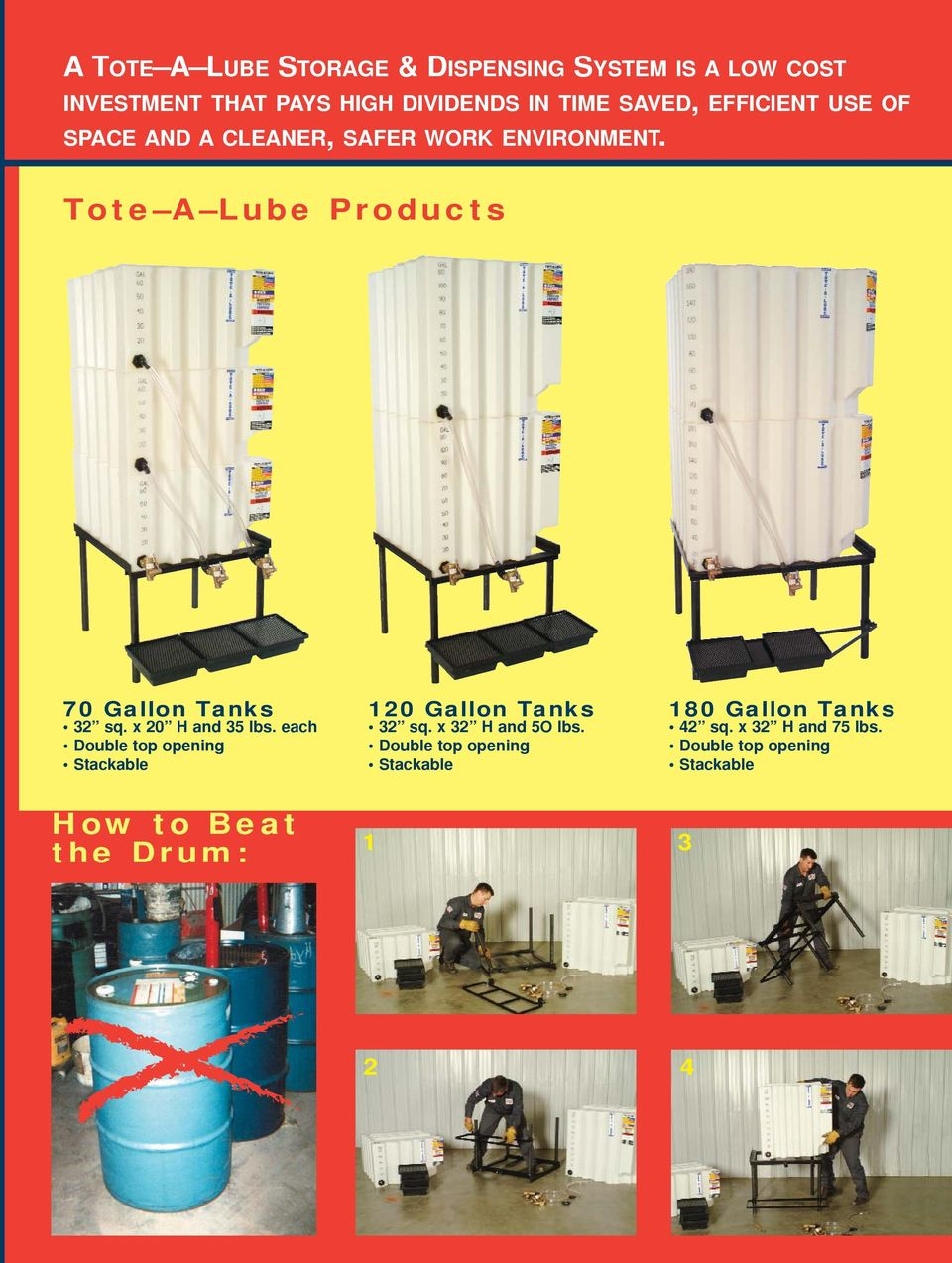 Tote A Lube Products 70 Gallon Tanks 32 sq. x 20 H and 35 lbs.