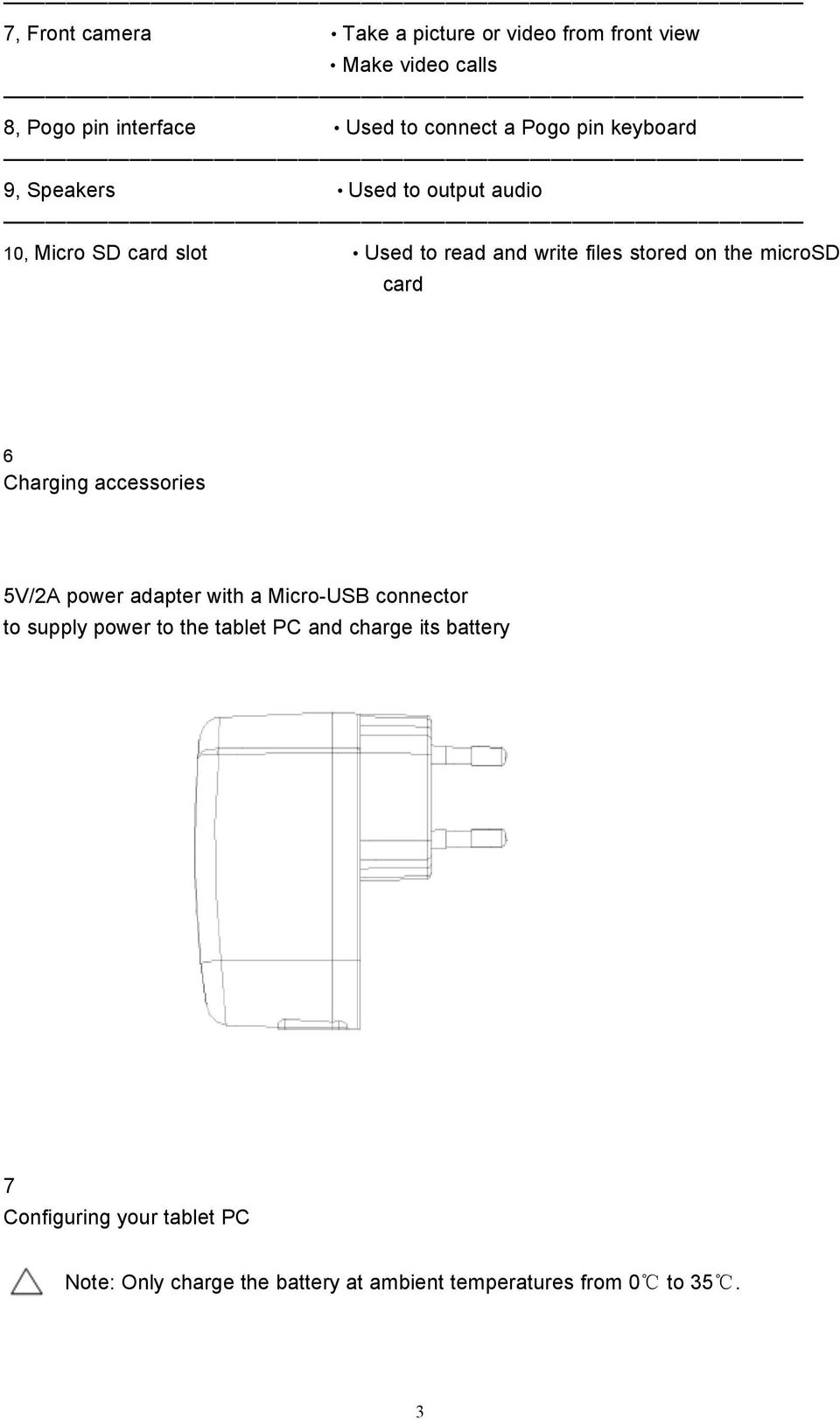 microsd card 6 Charging accessories 5V/2A power adapter with a Micro-USB connector to supply power to the tablet PC